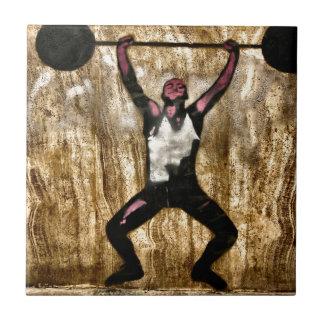 Barbell de la pesa de gimnasia del Weightlifter de Azulejo Cuadrado Pequeño