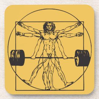 Barbell Deadlift del gimnasio - hombre de Posavasos