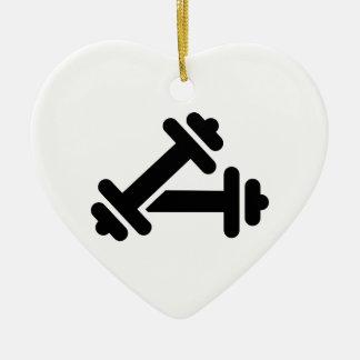 Barbell dumbbell training Double-Sided heart ceramic christmas ornament