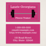 This business card design features a magenta background, a double-line border with a dashed line in between, and a simple representation of a barbell. It could be used by a professional such as a fitness trainer, weight trainer, personal trainer or fitness expert. The name, profession and contact details can be personalized.