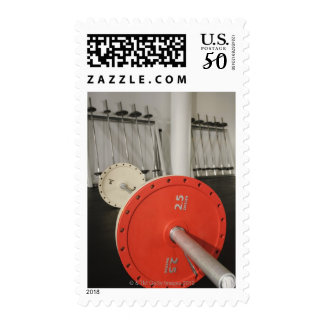 Barbell in gym postage