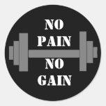 barbell NO PAIN NO GAIN Classic Round Sticker