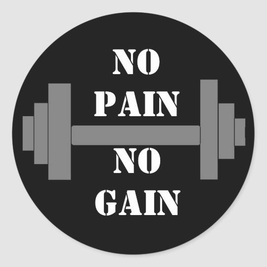 barbell NO PAIN NO GAIN Classic Round Sticker