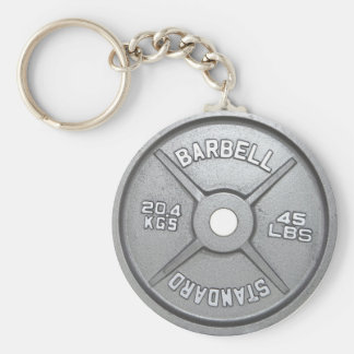 Barbell Plate Basic Round Button Keychain