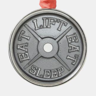 Barbell Plate - Lift, Eat, Sleep Christmas Tree Ornament