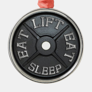 Barbell Plate - Lift, Eat, Sleep Christmas Tree Ornaments