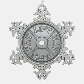 Barbell Plate - Lift, Eat, Sleep Snowflake Pewter Christmas Ornament