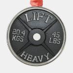 Barbell Plate - Lift Heavy Metal Ornament