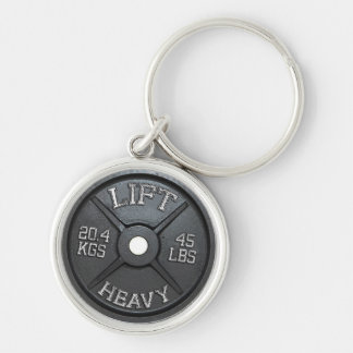 Barbell Plate - Lift Heavy Silver-Colored Round Keychain