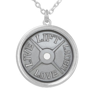 Barbell Plate - Lift, Live, Love, Laugh Silver Plated Necklace