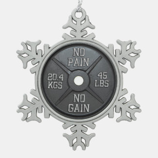 Barbell Plate - No Pain No Gain Ornament
