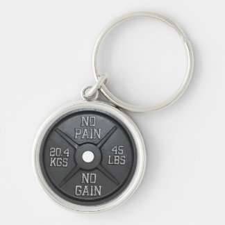 Barbell Plate - No Pain No Gain Silver-Colored Round Keychain