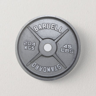 Barbell Plate Pinback Button
