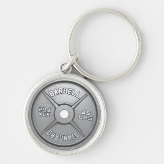 Barbell Plate Silver-Colored Round Keychain