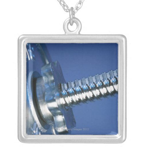 Barbell Square Pendant Necklace