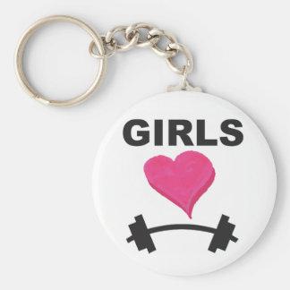 Barbells del corazón de los chicas - amor del llavero redondo tipo pin