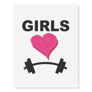 Barbells del corazón de los chicas - amor del tatuajes temporales