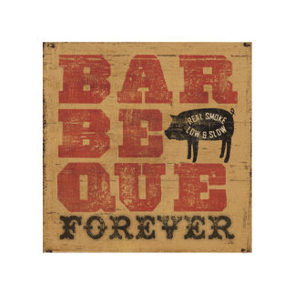 Barbeque Forever Wood Print