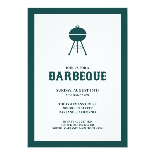Barbeque Grill Flat Invitation Card