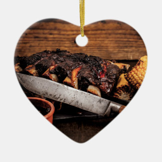 Barbequed beef ribs and corn. ceramic ornament