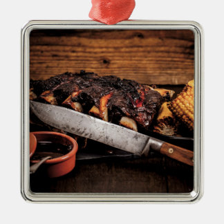 Barbequed beef ribs and corn. metal ornament