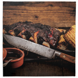 Barbequed beef ribs and corn. printed napkin