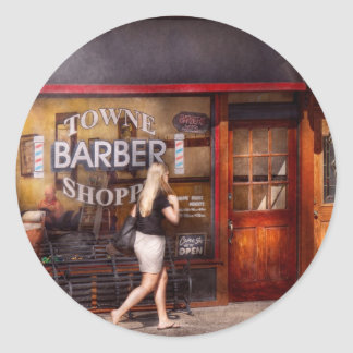 Barber - Barbershop - Time for a haircut Classic Round Sticker