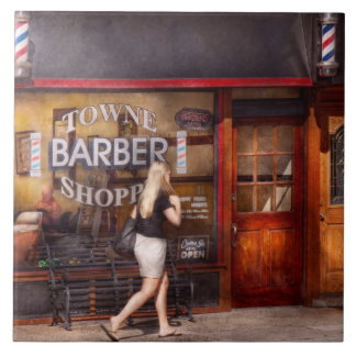 Barber - Barbershop - Time for a haircut Large Square Tile