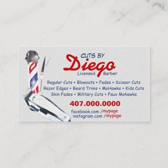 Barber business card barber pole shears zazzle barber business card barber pole shears colourmoves