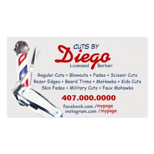 Barber business card barber pole shears zazzle for Barber shop business cards