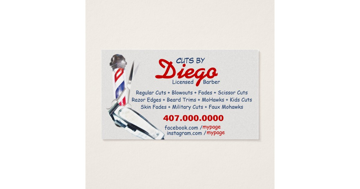 Barber Business Card (Barber pole & shears) | Zazzle.com