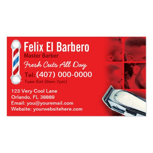 Barber Business Card barbershop pole clippers