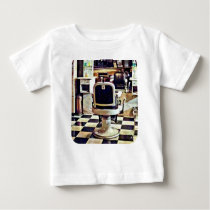 Barber Chair and Bottles of Hair Tonic Baby T-Shirt