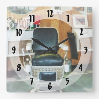Barber Chair Front View Square Wall Clock
