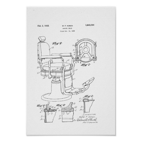Astonishing Barber Chair Patent Print Barber Shop Decor Poster Machost Co Dining Chair Design Ideas Machostcouk