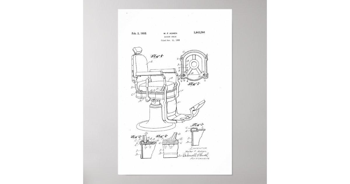 Fabulous Barber Chair Patent Print Barber Shop Decor Poster Zazzle Com Machost Co Dining Chair Design Ideas Machostcouk