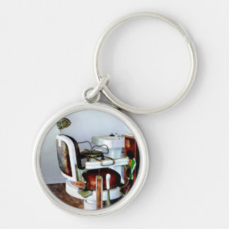 Barber Chair Silver-Colored Round Keychain