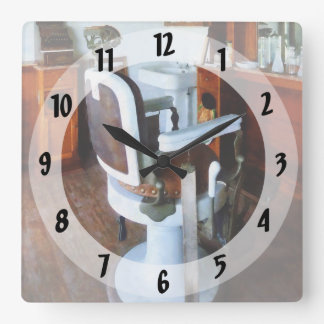 Barber Chair with Cash Register Square Wall Clock