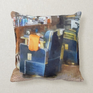 Barber Chair With Orange Barber Cape Throw Pillows