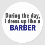 Barber During The Day Classic Round Sticker