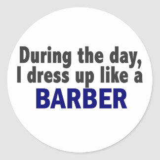 Barber During The Day Round Stickers