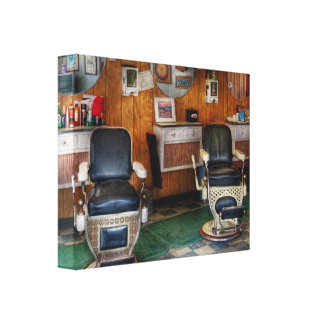 Barber - Frenchtown, NJ - Two old barber chairs Canvas Print