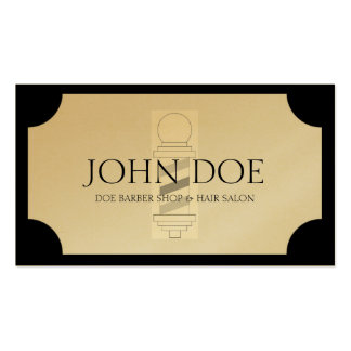 Barber Hair Stylist Black White Golden Plaque Business Card Template