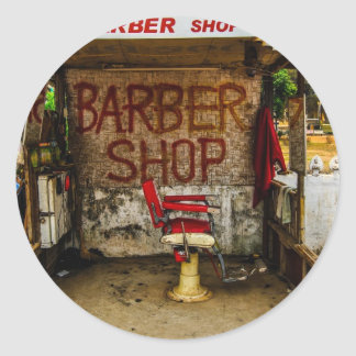 Barber 'Hut' in Laos. Round Stickers
