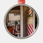 Barber - I need a hair cut Round Metal Christmas Ornament