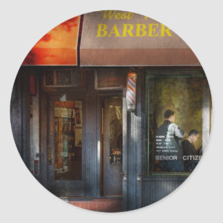 Barber - NY - West Village Barber Shop Classic Round Sticker
