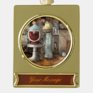 Barber - Our family barber 1935 Gold Plated Banner Ornament