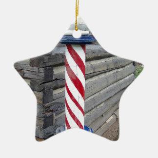 Barber Pole Ceramic Ornament