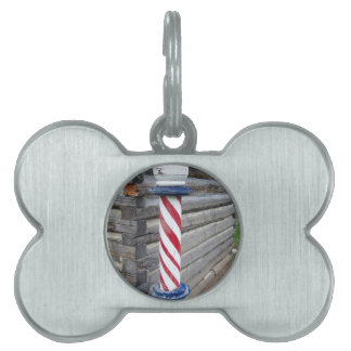 Barber Pole Pet Name Tag