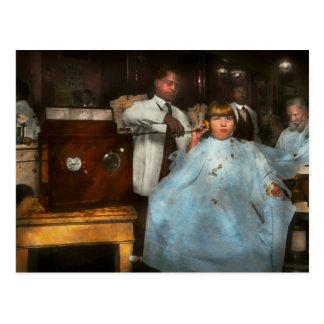 Barber - Portable music player 1921 Postcard